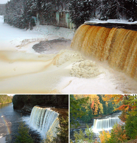 Set within a pristine wilderness, the Tahquamenon Falls is over 200' wide and 48' high.
